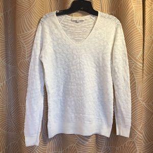 V neck long sleeve Loft ivory sweater